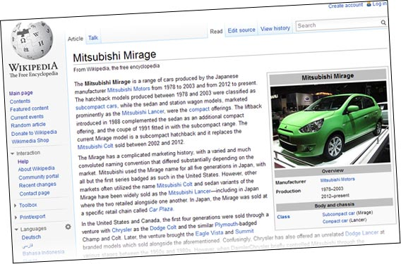 wikipedia's page for the mirage / space star is not good. update
